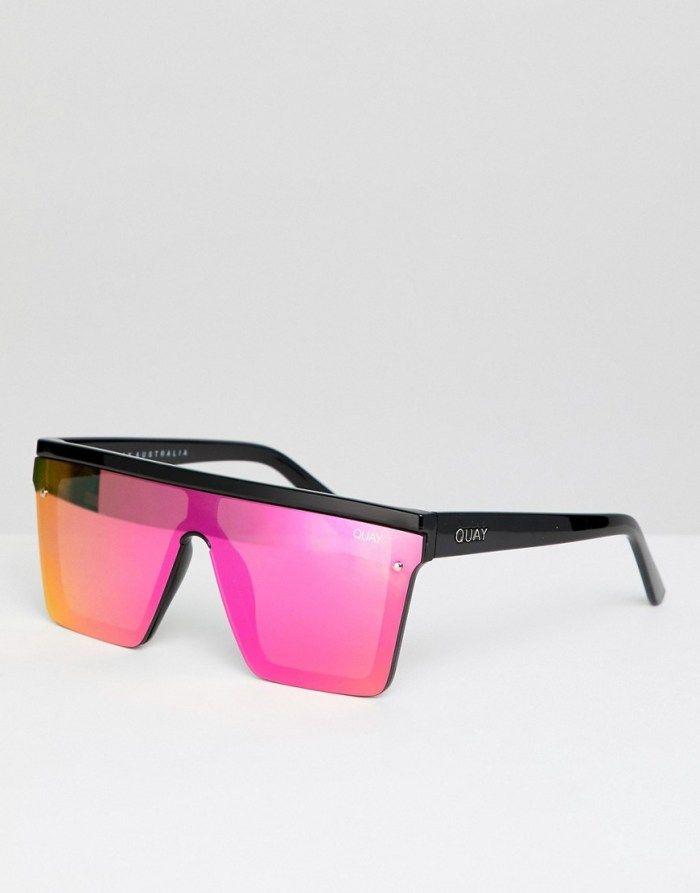 fc4947303a9b Quay Australia Hindsight square sunglasses in black   pink in 2019 ...