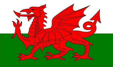 Wales Flag~This flag was officially adopted in 1959, but the red dragon (possibly Roman in origin) has been associated with Wales for many centuries. The green and white background stripes represent the House of Tudor, a Welsh dynasty that once held the English throne.