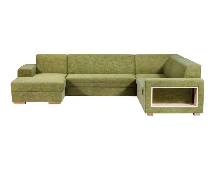 A-maze U-shape Extensible Sectional / Colour: Pine #sofa #sofabed #sectional #extensible #comfort  #cozy #storagespace #shelf