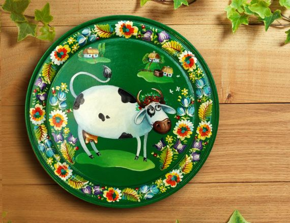 Decorative Plate, Hand Painted Wooden Plate, Folk Art Flowers, Art on plate, cow funky dish, Wall plate, rustic style decor, handmade plates