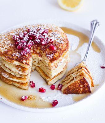 Get the Lemon Ricotta Pancakes recipe from Half Baked Harvest