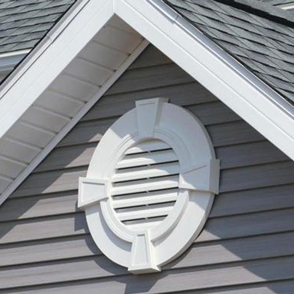 30 Inch W X 30 Inch H Round Gable Vent Louver With Keystones 50 Sq Inch Vent Area Gable Vents House Vents Attic Ventilation