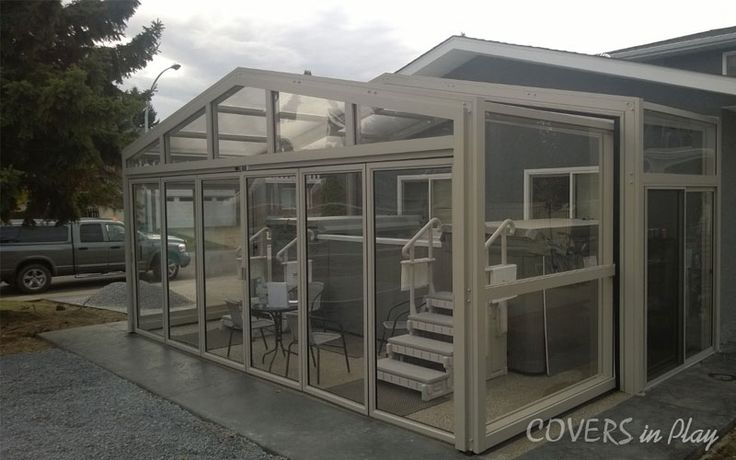 This operable single peak enclosure is 23 ft wide x 15 ft long. With us get all the benefits of having a pool.	http://www.coversinplay.com/about.html	 #Pool #PoolCover #Cover #Enclosure #PoolEnclosure #IndoorPools #PatioEnclosures #PoolDesigns #SwimmingPool #EndlessPool #RectractablePool  #GroundPool