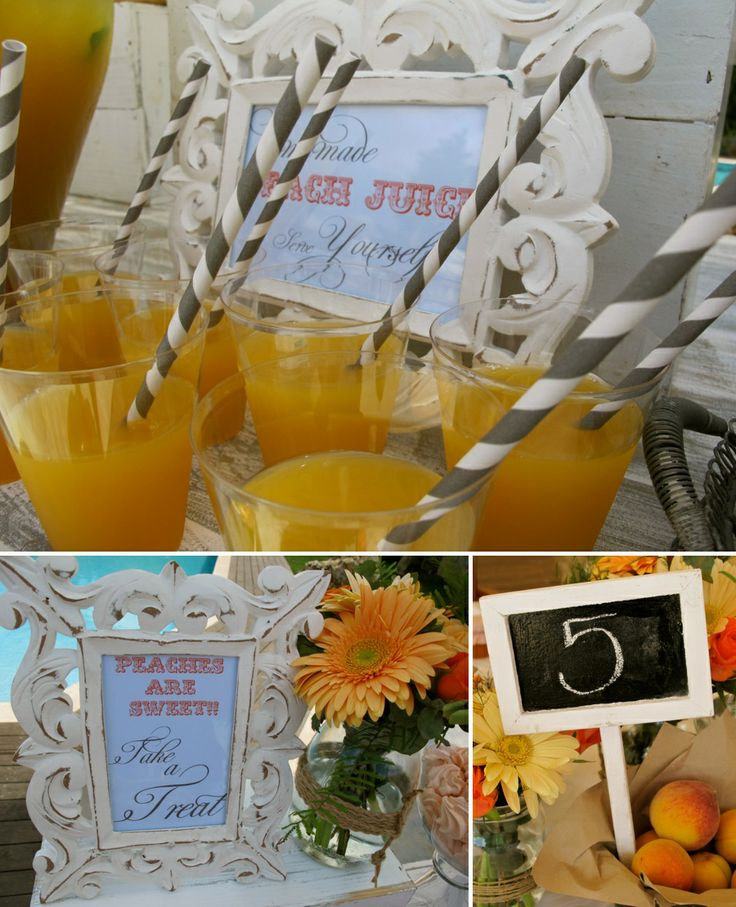 Peach juice offered to the guests in Peach Inspired Christening!