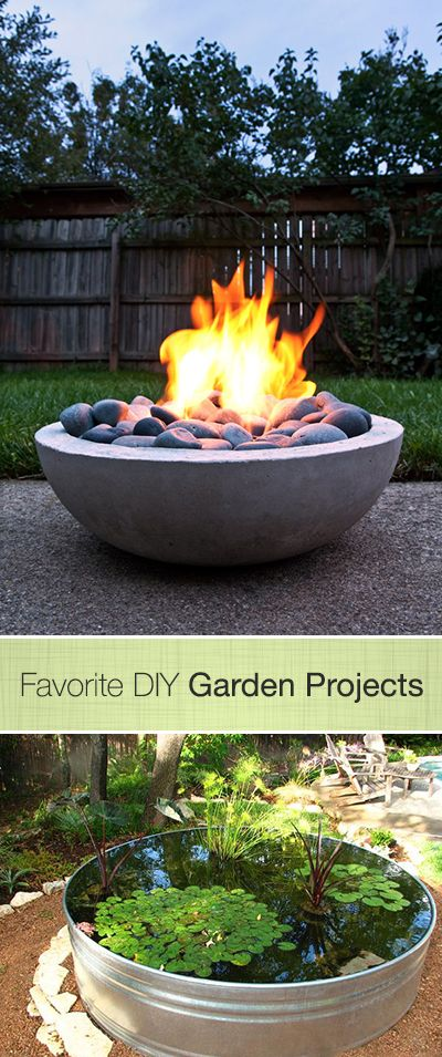 Favorite DIY Garden Projects • Ideas & Tutorials! Including this fabulous Fire Pit project and this Water Garden project.