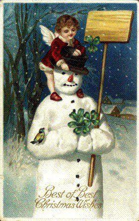 .Vintage Postcards, Christmas Cards, Vintage Christmas, Vintage Snowmen, Cherub Christmas, Christmas Greeting, Snowmen Vintage, Christmas Snowman, Christmas Vintage