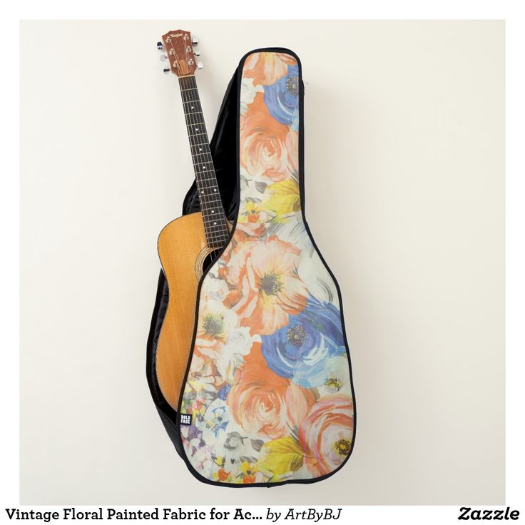 Vintage Floral Painted Fabric for Acoustic Guitar   - A Wonderful Christmas Present for ANY Guitar Player - order it as an Electric Guitar Case or an Acoustic Guitar Case.