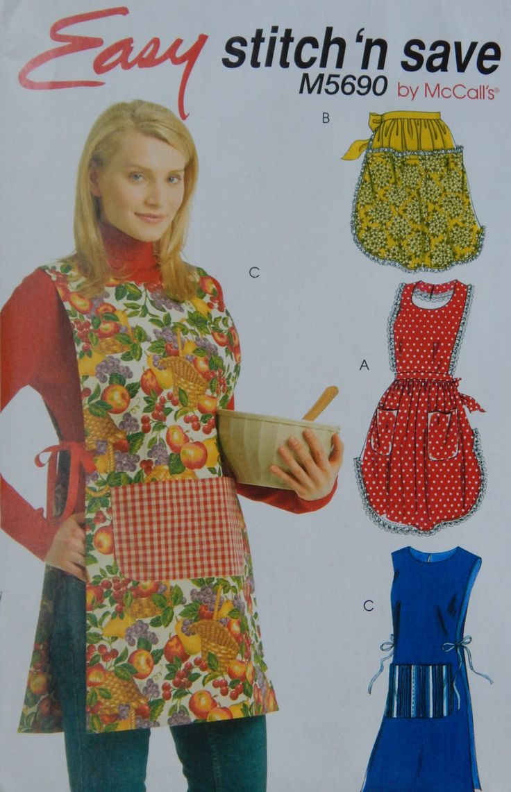 Apron Sewing Pattern Bibed, Full & Half/ McCall's 5690