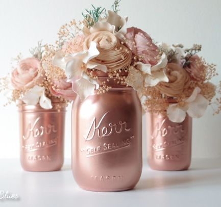pink copper mason jar decor