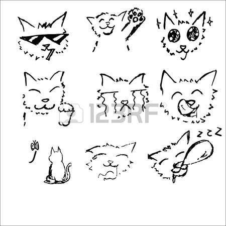 chat dessin: Cat dessin croquis noir et blanc dans le style bande dessinée japonaise 6 émotion serti heureux, fumer, être impressionné, bienvenue, pleurer, bâillement, vide, somnolent Illustration