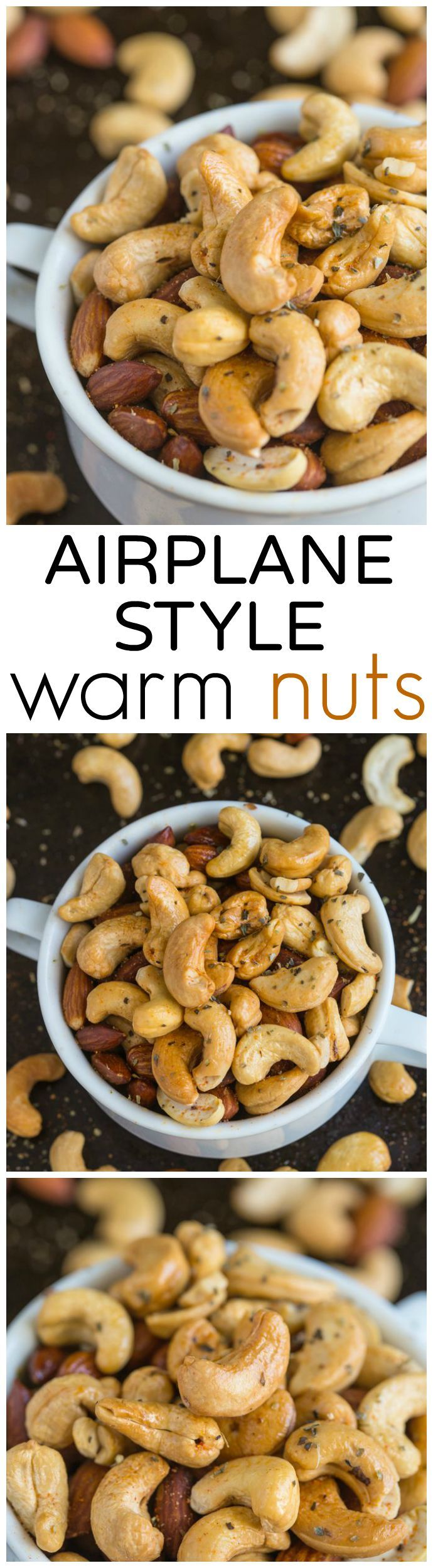 Airplane Style Warm Nuts- Tested out three ways (stovetop, slow cooker and oven roasted!) these nuts are a delicious appetiser or snack chock full of spices!