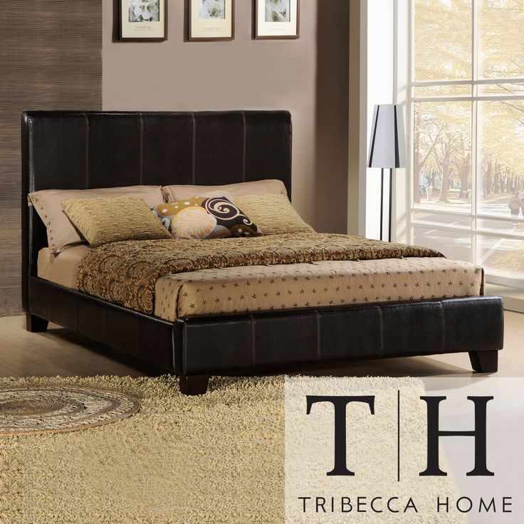 Your bedroom will take on a contemporary, decorator look when you add this stylish modern upholstered bed to your space. This full-size sleigh bed has a frame that is crafted from Asian hardwood and a headboard padded with rich brown vinyl
