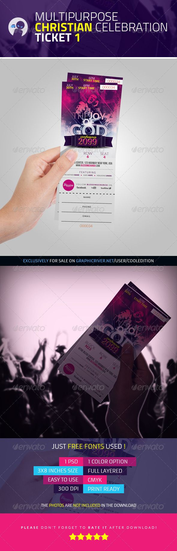 Multipurpose Christian Celebration Ticket 1 — Photoshop PSD #entry #christian • Available here → https://graphicriver.net/item/multipurpose-christian-celebration-ticket-1/3864897?ref=pxcr
