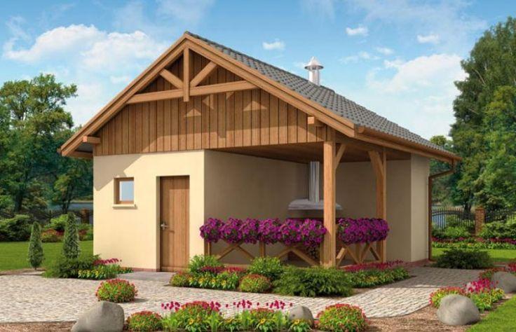 Budynek gospodarczy, wolno stojący, parterowy z pomieszczeniem gospodarczym, altaną ogrodową z grillem i składem na drewno kominkowe.