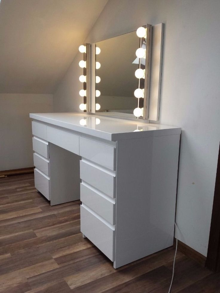 Modern White High Gloss Dressing Table White Gloss