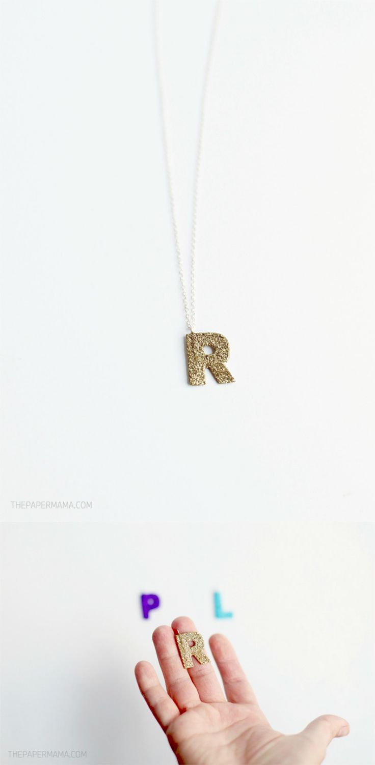 You don't have to spend the big bucks for that sparkly jewelry because you can make your own! Sure this isn't REAL gold or fancy stone, but these sparkle monogram necklace pendants are lovely. Even though they are made of paper, glue and glitter, they are quite sturdy.