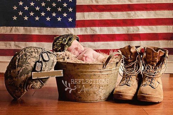 Handmade Crochet Baby Newborn Military Army Hat Photoprop Made To Order via Etsy