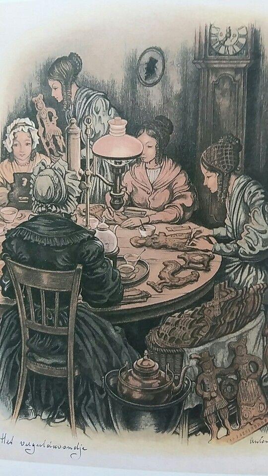 Anton Pieck, Verguldavondje, de dames zijn de speculaasfiguren aan het vergulden (versieren).