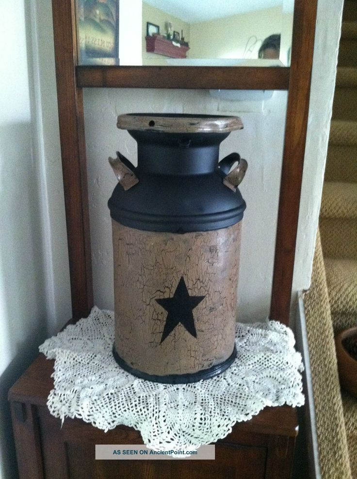 Country, Antique Milk Can. Perfect example of what some crackle paint & stencil can do!