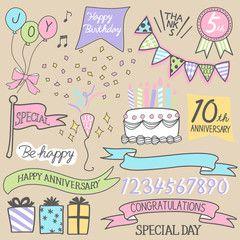 ベクター 手書き風 アニバーサリー 周年 記念 デザイン点 数字 フォント かわいい 結婚記念日おめでとう ハッピーバースデー イラスト