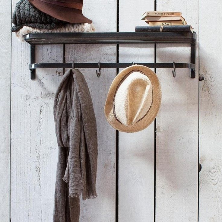 Industrial wall Luggage Rack with Hooks 19