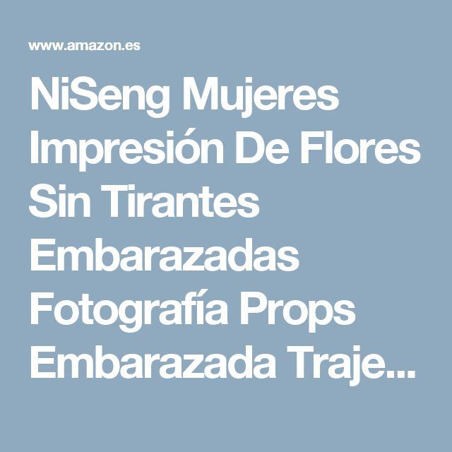 NiSeng Mujeres Impresión De Flores Sin Tirantes Embarazadas Fotografía Props Embarazada Trajes De Fotografía Embarazada Maxi Vestido M