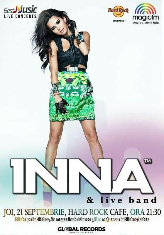 Joi, 21 Septembrie, ora 21.30 – Concert INNA la Hard Rock Cafe Bucharest. #Concert #INNA #HardRockCafe