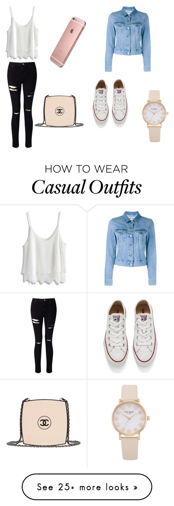 """""""casual : )"""" by caitlincastles1 on Polyvore featuring Chicwish, Acne Studios, Miss Selfridge, Converse and Chanel"""