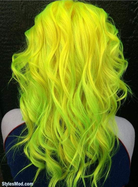 Gorgeous Neon Yellow Neon Green Hair Color Trends For 2018