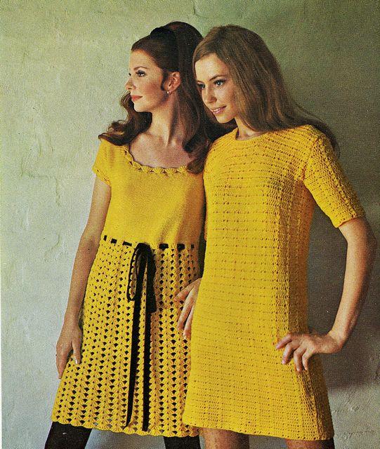 Vintage bright yellow crochet dresses