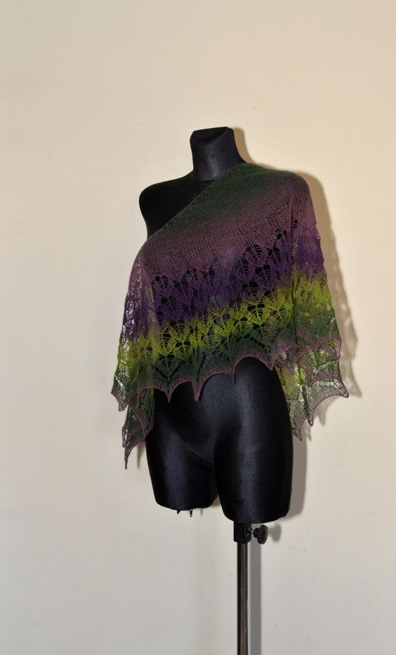 HANDMADE. READY TO SHIP  This shawl is made of Estonian yarn -100% wool (shetland type - may be too rough for sensitive skin) Shawl is feminine and very romantic, it will be great addition to every wardrobe.  Colors: shades of green and purple. Shawl is a crescent-shaped.  Measurement: length 164 cm [64.6] width (at its widest point) 47 cm [18.5]  Hand wash in lukewarm water (30° C). Dry flat and block with pins to give a shape. Because of different monitors and screen resolutions, color may…