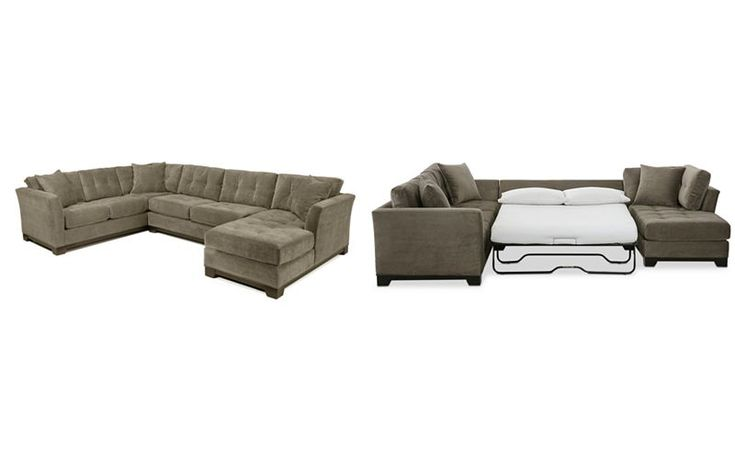 Elliot 3-Pc. Microfiber Sectional with Full Sleeper Sofa & Chaise, Created for Macy's - Furniture - Macy's