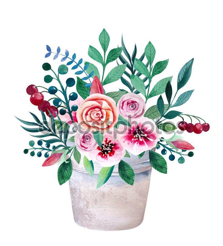 Акварель букеты цветов в горшок. Деревенском стиле цветочные набор — стоковое изображение #87917572