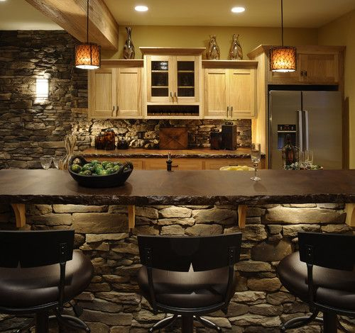 Houzz - Home Design, Decorating and Remodeling Ideas and Inspiration, Kitchen and Bathroom DesignKitchens Design, S'Mores Bar, Stones Wall, Custom Home, Basements Bar, Bar Area, Acid Stained Concrete, Bar Lights, Concrete Countertops