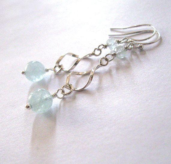 Aquamarine Gemstone Earrings: Sterling Genuine Aquamarine Gemstone Earrings