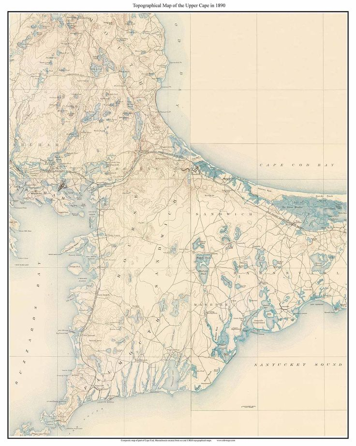 """Cape Cod Regions UPPER CAPE 1890 Map USGS Composite Old Map reprint - Bourne Falmouth Sagamore Sandwich Mashpee Barnstable Cape Cod Canal. This old """"topo"""" map is a composite made from several separate USGS topographical maps. We stitched the maps together to make one nice wall map. On this print we see the area that will become the Cape Cod Canal. This map covers the towns of Bourne, Falmouth, Sandwich, Mashpee and part of Barnstable. Topo maps show every road and all principal buildings…"""