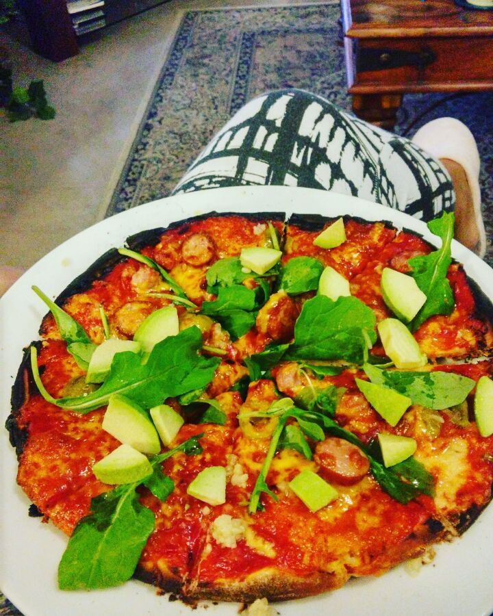 With my off-pink slippers on.. #wellness Last night my housemates made pizza while watching the rugby & I was also watching the rugby #homemade #merentiaskitchen #merentiasadventures #capetown #southafrica #instafood ##foodporn #foodgasm #foodspotting #food #instalike #instagood #instamood #pizza