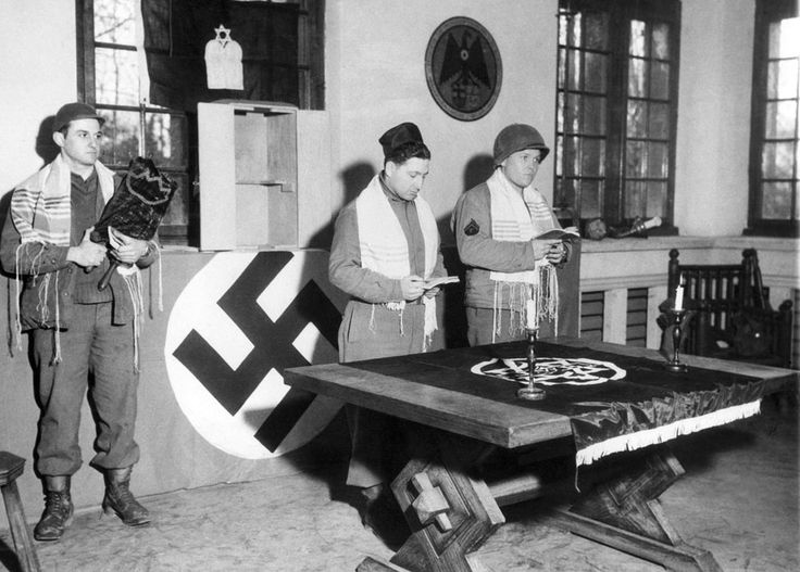 American servicemen conducting Jewish services in the former home of Nazi propaganda minister Joseph Goebbels, the first such within that part of Germany in years.    Munchengladbach, Germany - March 18, 1945