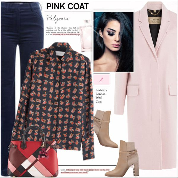 Hey, Girl: Pretty Pink Coats by alves-nogueira on Polyvore featuring moda, Victoria, Victoria Beckham, Burberry and Philosophy di Lorenzo Serafini