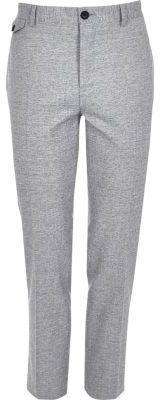 River Island Mens Grey crosshatch skinny fit suit pants