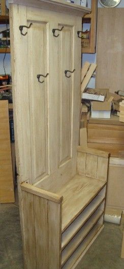 hall tree bench old door | Newly made from recycled 100+ yr old white pine wood. Great grain ...