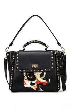 GrabMyLook  Black Painted Graphic Metal Spike Studs Rivets Punk Rock Shoulder Handbag Doctor Boston Bag