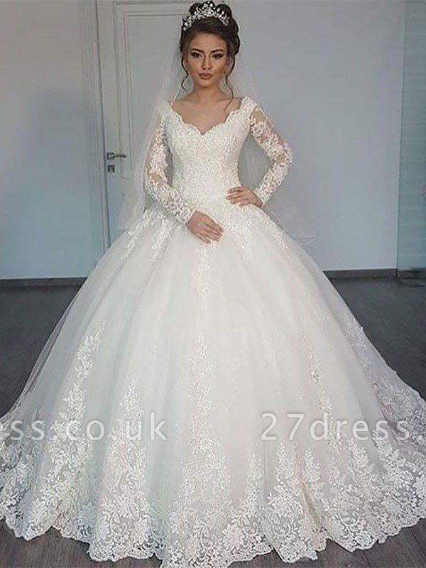 Court Train Tulle Ball Gown V Neck Long Sleeves Wedding Dresses Uk In 2020 Wedding Dress Sleeves Online Wedding Dress Lace Ball Gowns