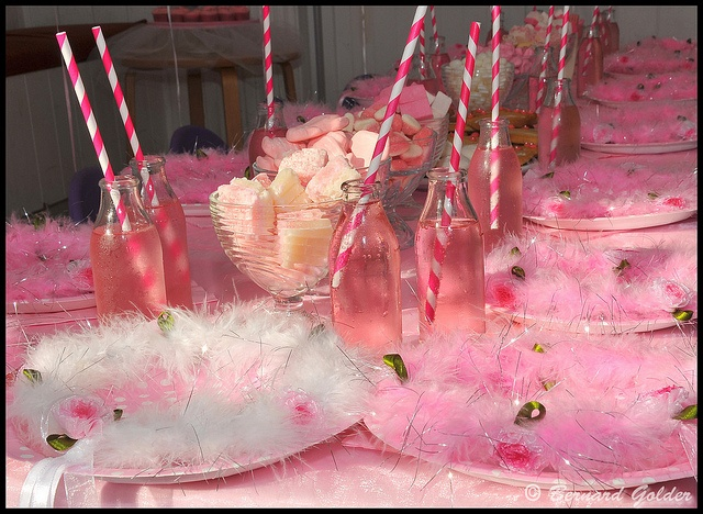 Pink Party - love the straws - maybe I could find some tumblers with these color straws for moms to take with?