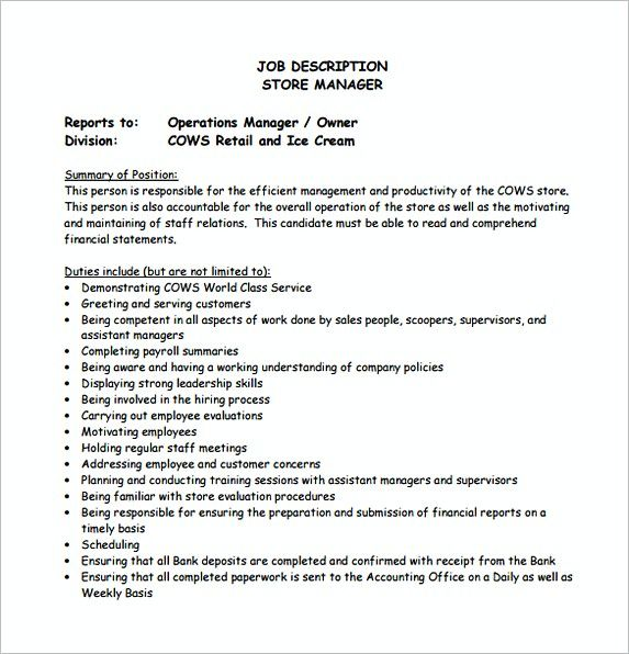 Store Operation Manager Job Description Free Template Assistant Store Manage Manager Resume Job Description Template Administrative Assistant Job Description