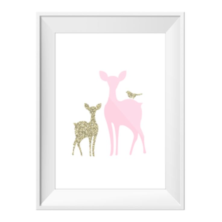Fawn+And+Deer+Pink+|+Sizes+Available+by+Toucan+Art+Prints+on+POP.COM.AU