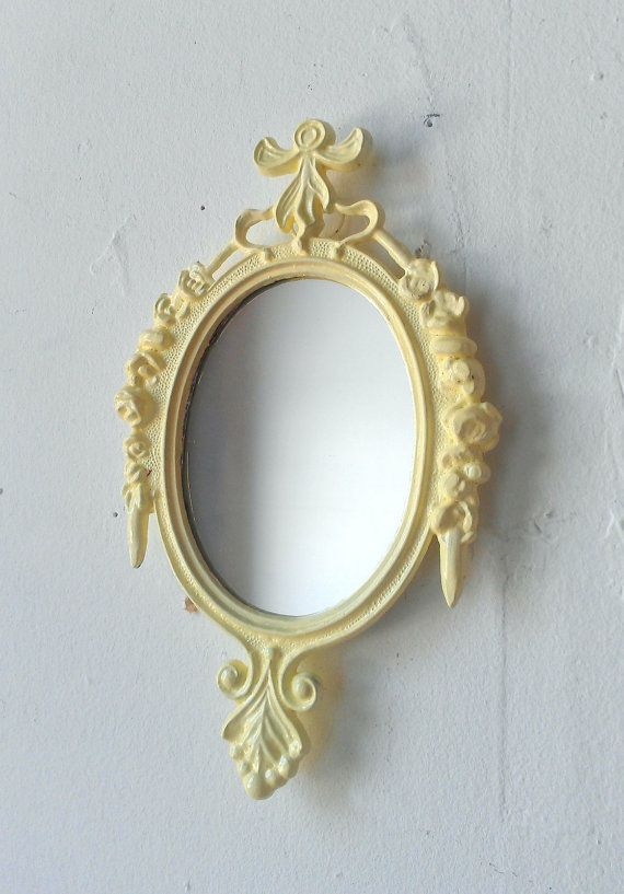 Small Wall Mirror in Vintage Pale Yellow Frame - Revived Vintage. $18.00, via Etsy. - I want to paint an old mirror I have JUST like this one! Cute!