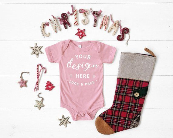 aff30703a Pink Bella Canvas 134B Triblend Christmas Baby Romper Suit Mockup, One  Piece Xmas Themed Body