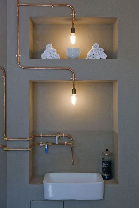 exposed copper piping...