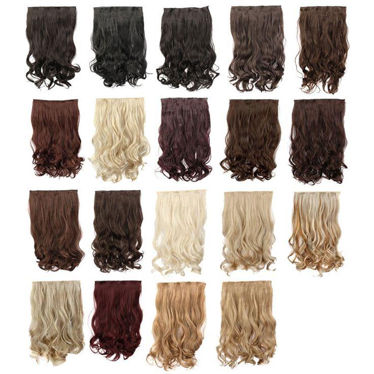 Накладные Волосы 5 Клип В Наращивание Волос Синтетический 24 inch 60 см Длинные Волосы Кусок Вьющиеся Волнистые Синтетический Натуральных Волос расширения WF841G